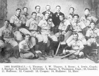 University baseball team, 1893