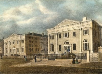 Penn's campus from 1829-1871, at Ninth and Market Streets