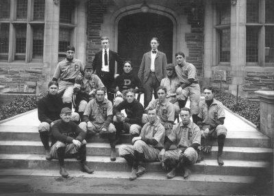 University baseball team in front of Houston Hall, 1900