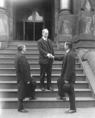 Josiah Harmar Penniman in front of College Hall, c. 1925
