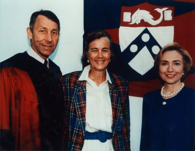 Hillary Rodham Clinton with University President Sheldon Hackney and Lucy Durr Hackney, 1993