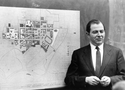 Martin Meyerson with 1975 Campus Development Plan