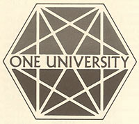 One University logo, Martin Meyerson administration, 1975