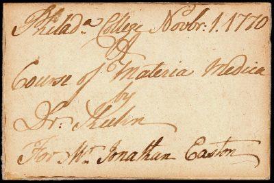 Admission ticket, Adam Kuhn's lectures on materia medica, 1770