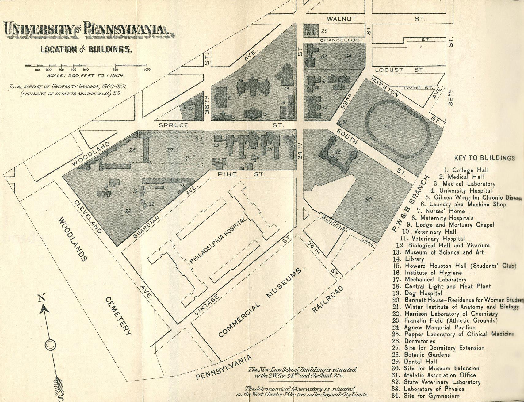 John A Logan Campus Map.Penn Campuses Before 1900 West Philadelphia Campus University