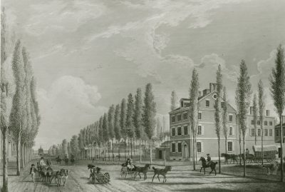 View east from 10th and Market Streets, with Dunlap House on south side of Market (at right) and rear of Ninth Street Campus under trees at center, 1807.