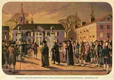 Fourth Street Campus, 'Procession entering first American Law School to hear James Wilson, Chief Justice of Pennsylvania…Philadelphia, 1790'