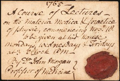 Admission ticket, John Morgan's lectures on materia medica and practice of physic, 1765