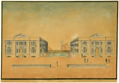Ninth Street campus of the University of Pennsylvania, Medical Hall and College Hall, 1830 watercolor