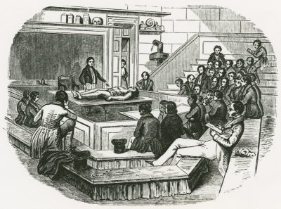 Illustration showing classroom in University of Pennsylvania's Medical Hall, 1845
