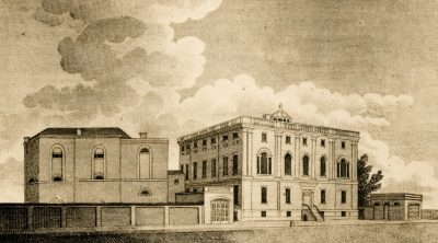 "President's House,"" viewed from the southeast, with 1806-1807 Medical Department wing (at left of view), c. 1810"