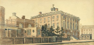 """President's House,"" viewed from the southeast (after the 1817 addition of the cupola to the Medical Department wing), after a watercolor by William Strickland, c. 1820"