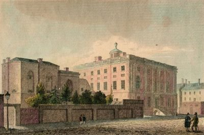 """President's House,"" viewed from the southeast, with 1806-1807 Medical Department wing (at left of view), c. 1815"