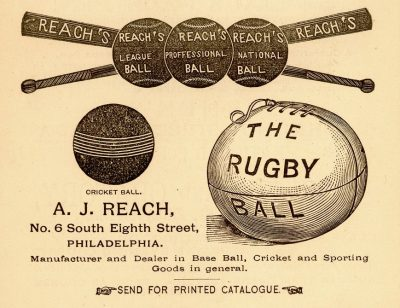 Sports equipment advertisement, published in The Record, 1879
