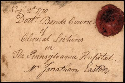 Admission ticket, Thomas Bond's clinical lectures, 1770