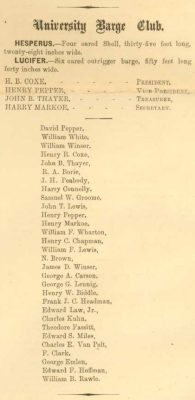 University Barge Club, 1867 Record