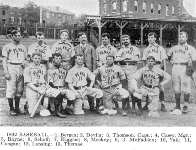 University baseball team, 1892