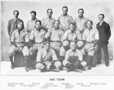 University baseball team, 1898