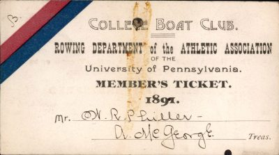 College Boat Club member's ticket, 1891