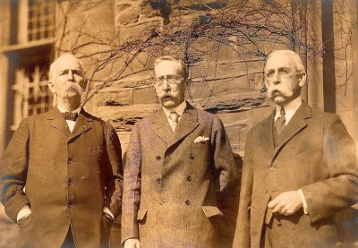 Old rowing rivals in 1926: Edmund A. Crenshaw A.B. 1877 (University Barge Club), James W.M. Cardeza A.B. 1875, and W.R. Philler A.B. 1875 (first College Boat Club secretary)