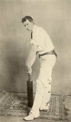 George Stuart Patterson, College Class of 1888, in full cricket ensemble, 1888