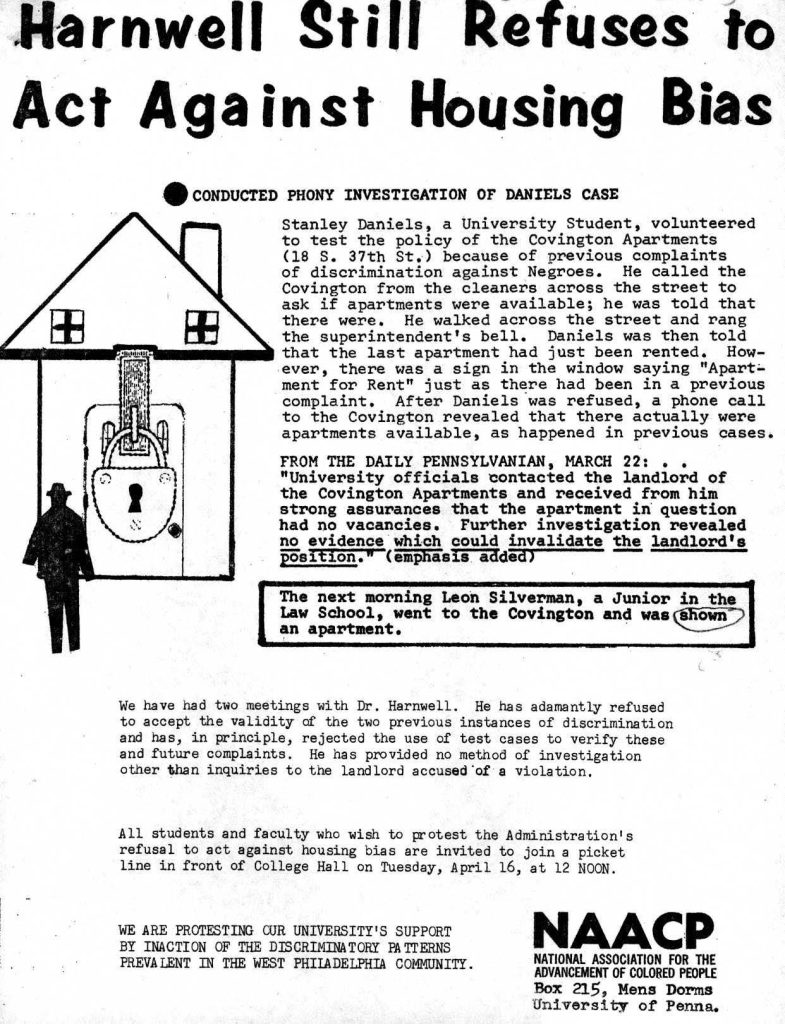 Flyer distributed by the NAACP vehemently opposing Harnwell's position on housing bias at University approved building, 1963