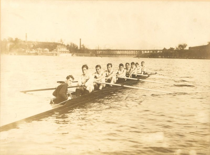 Men's crew, eight-oar shell on the Schuylkill River, c. 1906