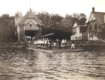 Men's crew team launching a shell, 1904