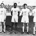 Men's 1600 meter relay team, 1908 Olympic Games, including Penn's Nathaniel J. Cartmell (W'08 - #21) and John B. Taylor (V'08 - #23)