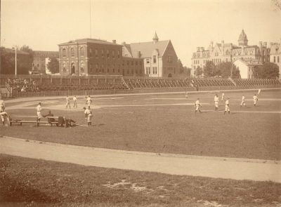 Baseball team practicing on Old Athletic Field at 36th and Spruce Streets, 1891