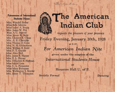 American Indian Club, American Indian Nite, 1928