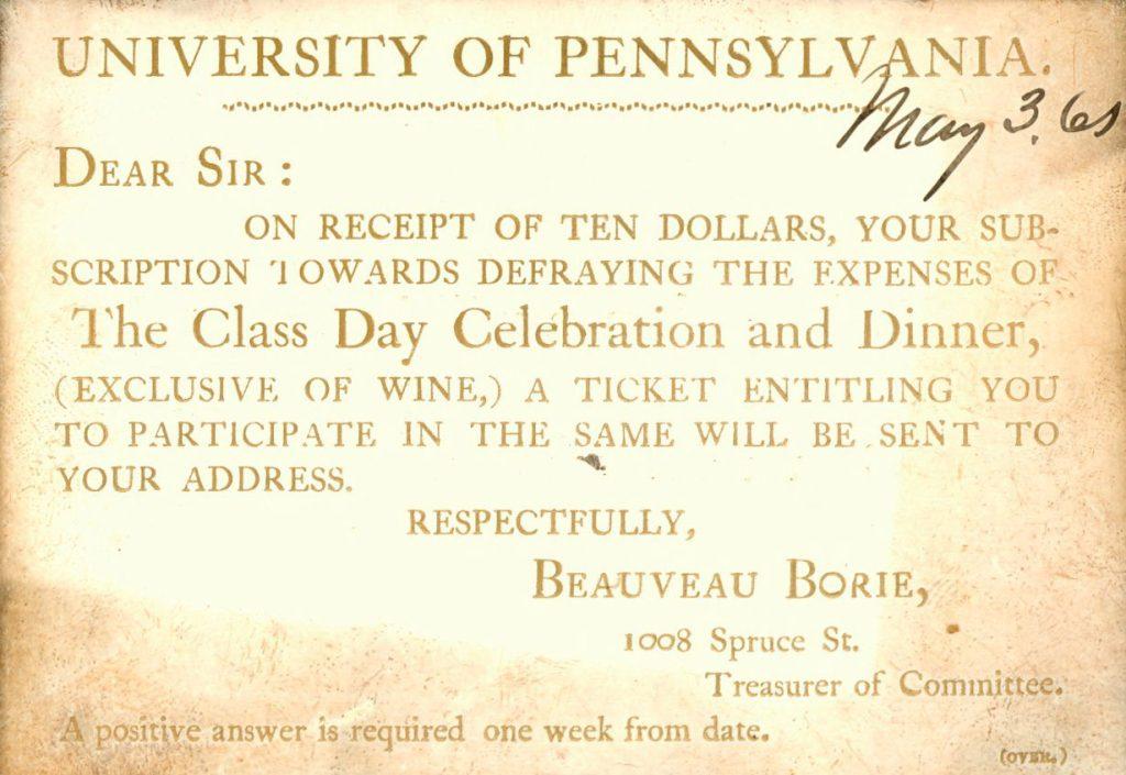 Class Day invitation, 1865