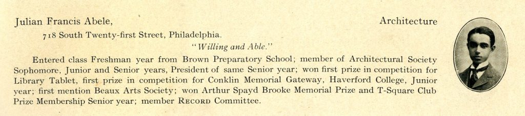 Julian Francis Abele, yearbook entry, 1902