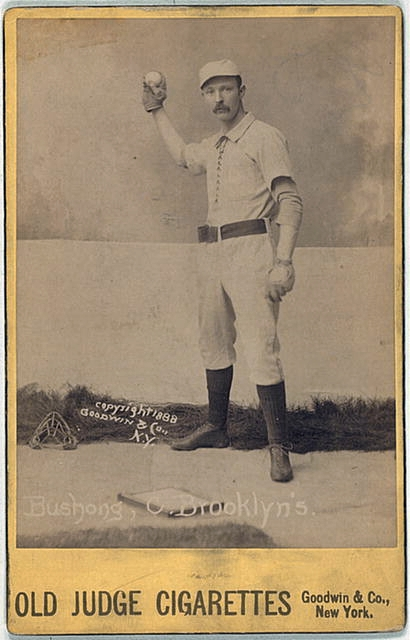 Albert John 'Doc' Bushong baseball card from Old Judge Cigarettes, 1888