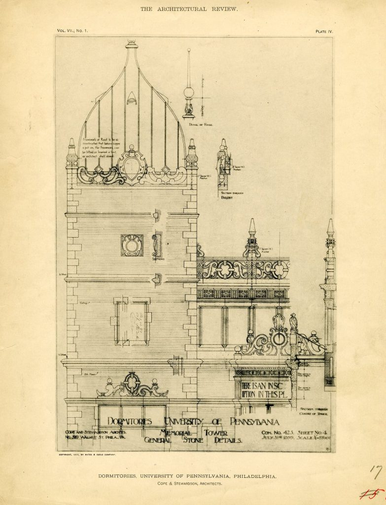 Dormitory Quadrangle, Memorial Tower, architectural drawing, 1899