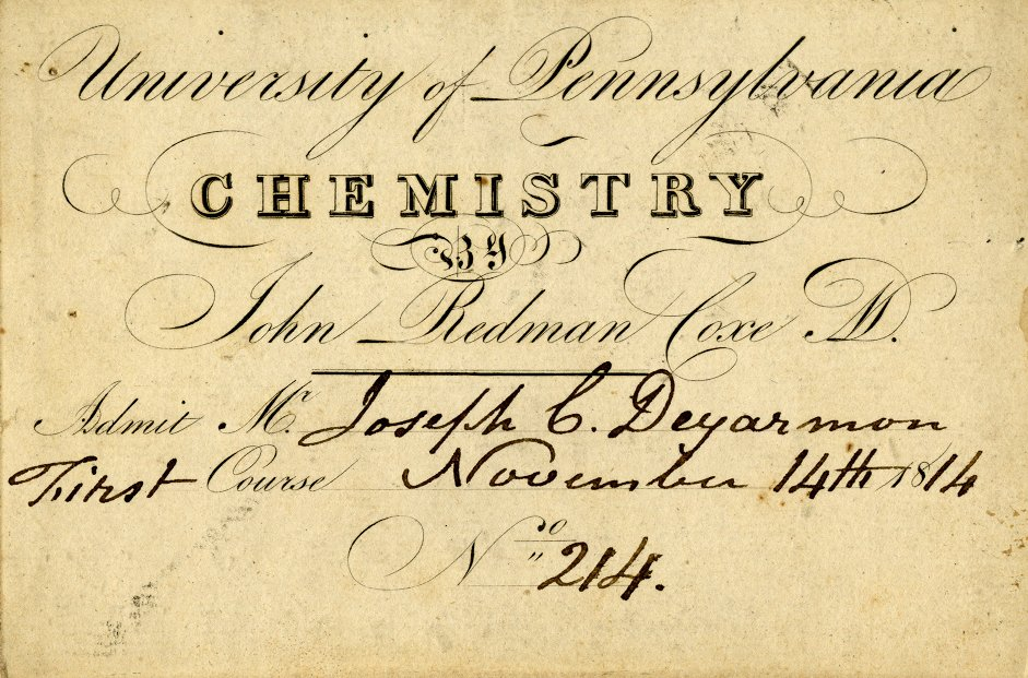 Admission ticket to John Redman Coxe's lectures on chemistry, 1814
