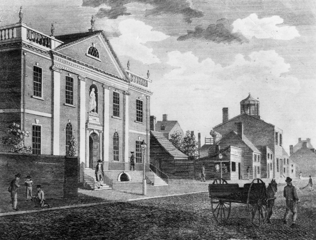 Surgeons' Hall, on Fifth Street near Walnut Street, home to Penn's Medical Department, 1763 to 1802