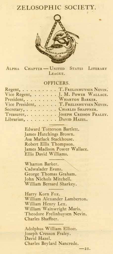 Zelosophic Society, entry in University Record, 1865