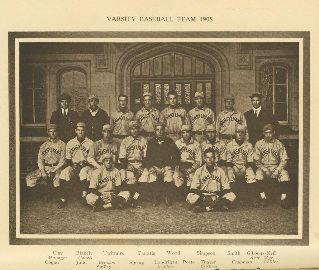 Varsity baseball team, 1908