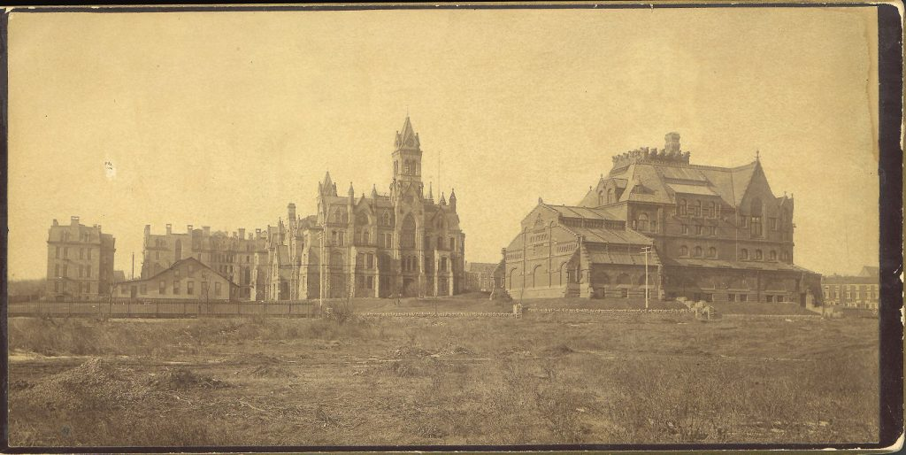 Buildings, left to right: Hospital Building, Dining Hall with Hare Laboratory beyond, Medical Hall (later Logan and then Claudia Cohen Hall), College Hall, Furness' University Library (now the Anne and Jerome Fisher Fine Arts Library), c. 1891