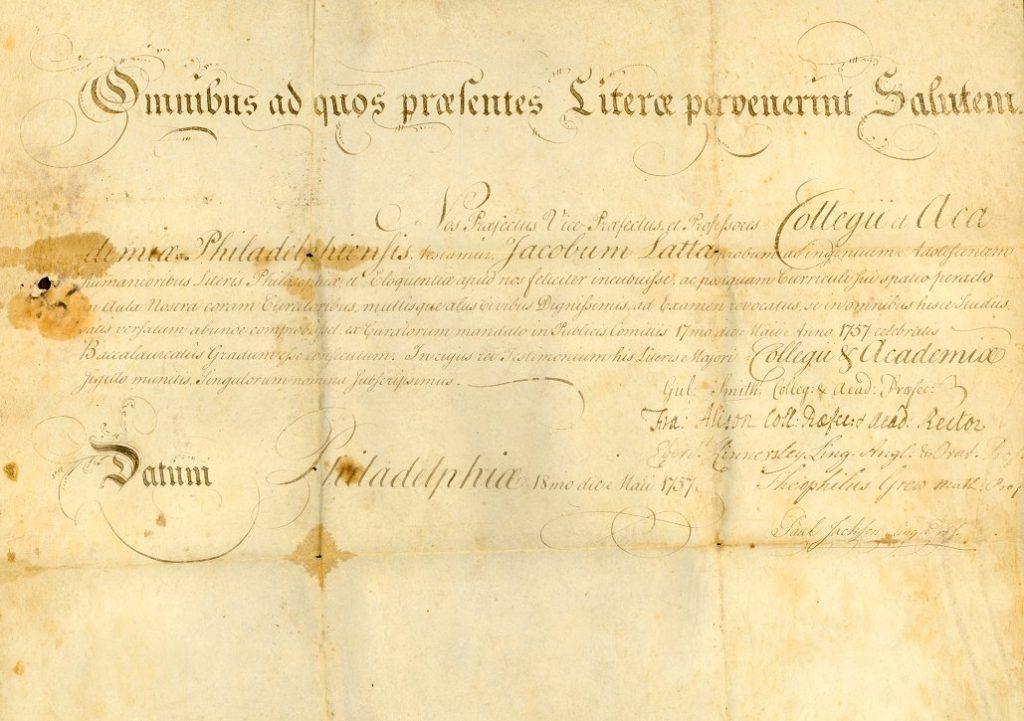 James Latta, diploma, 1757