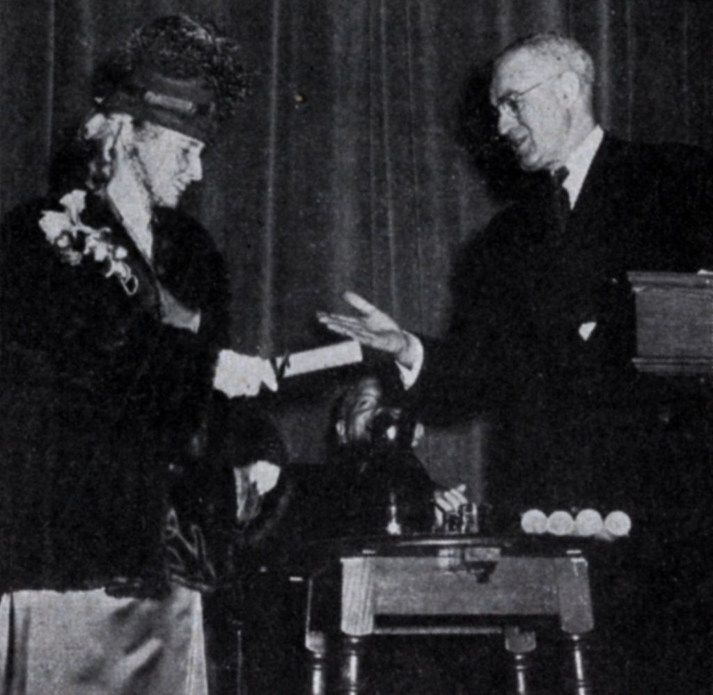Laura Ruth Murray Klein receiving Alumni Award of Merit, January 1949
