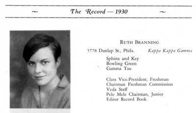 Ruth Branning Molloy, yearbook photo, 1930