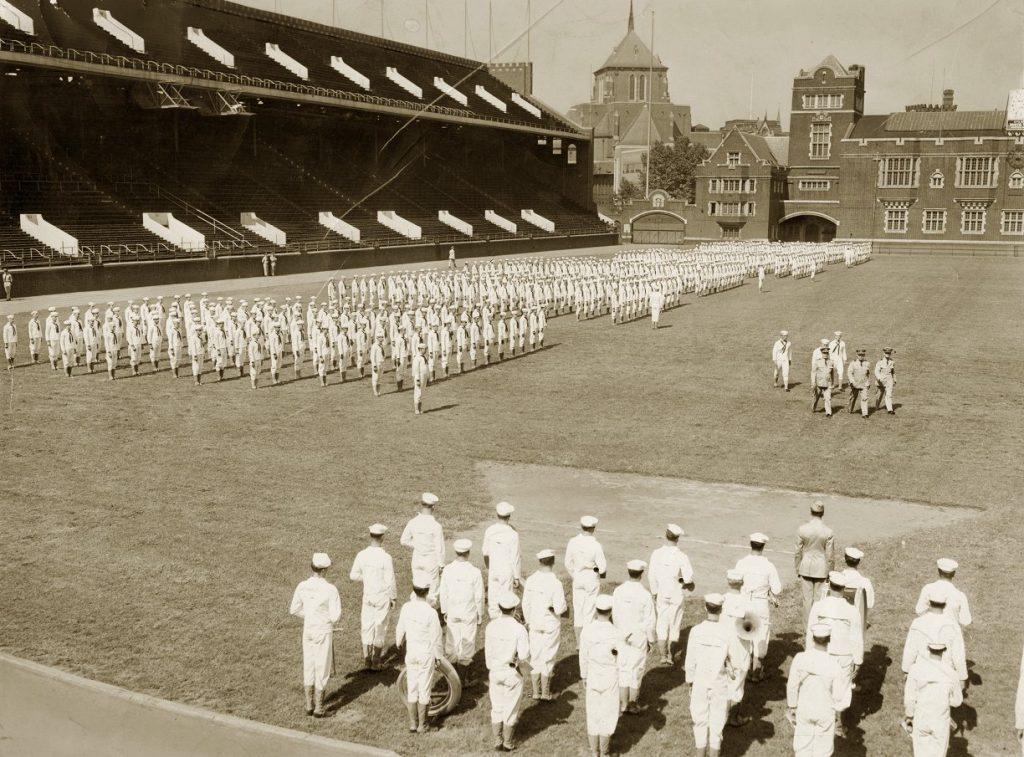 Navy V-12 students on parade in Franklin Field, 1943
