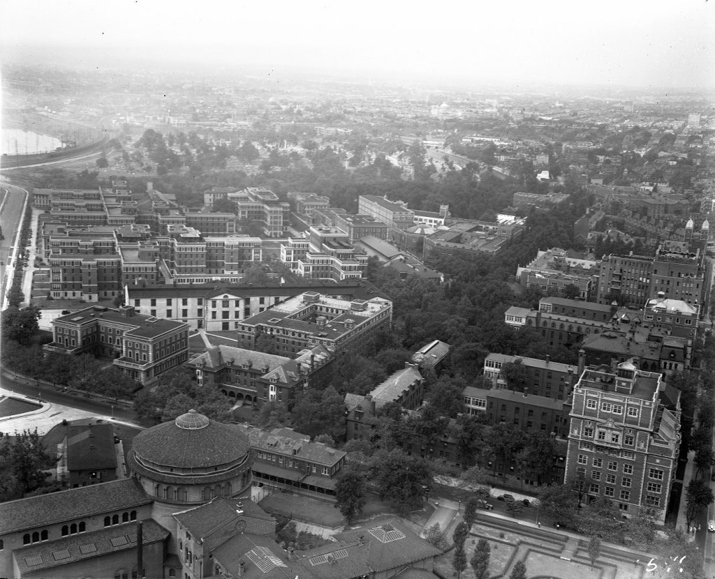 Hospital of the University of Pennsylvania, Philadelphia General Hospital, University Museum, aerial view, 1934