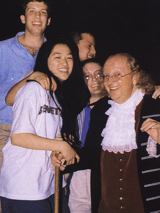 Benjamin Franklin and friends at the University of Pennsylvania's 250th anniversary celebration, 1990