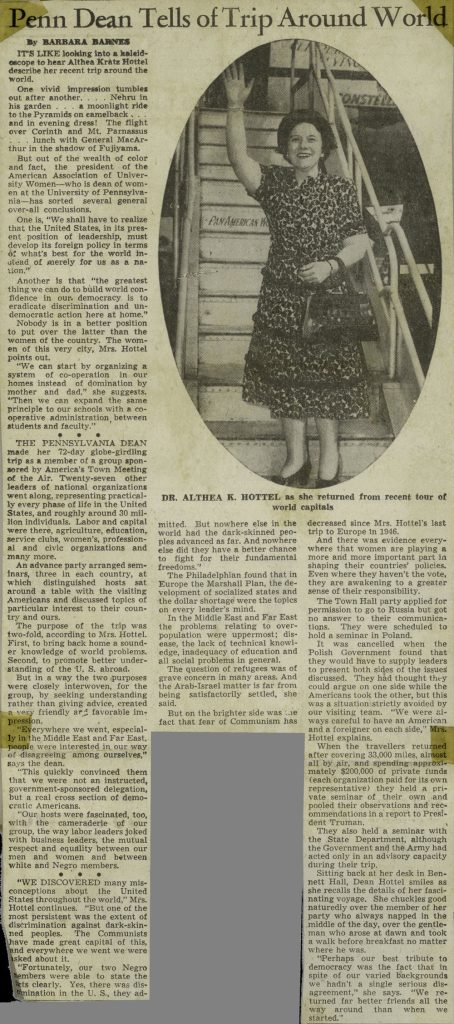 Althea Kratz Hottel, world travels as Penn Dean, news article, 1949