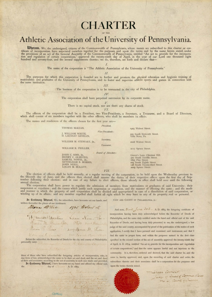 Charter of the Athletic Association of the University of Pennsylvania, 1883