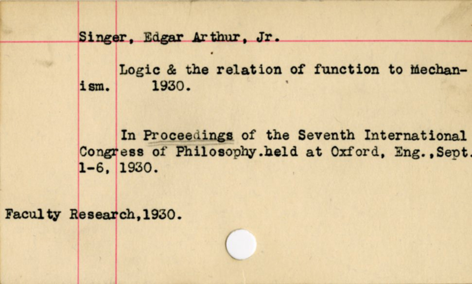 Card noting faculty research, 1930