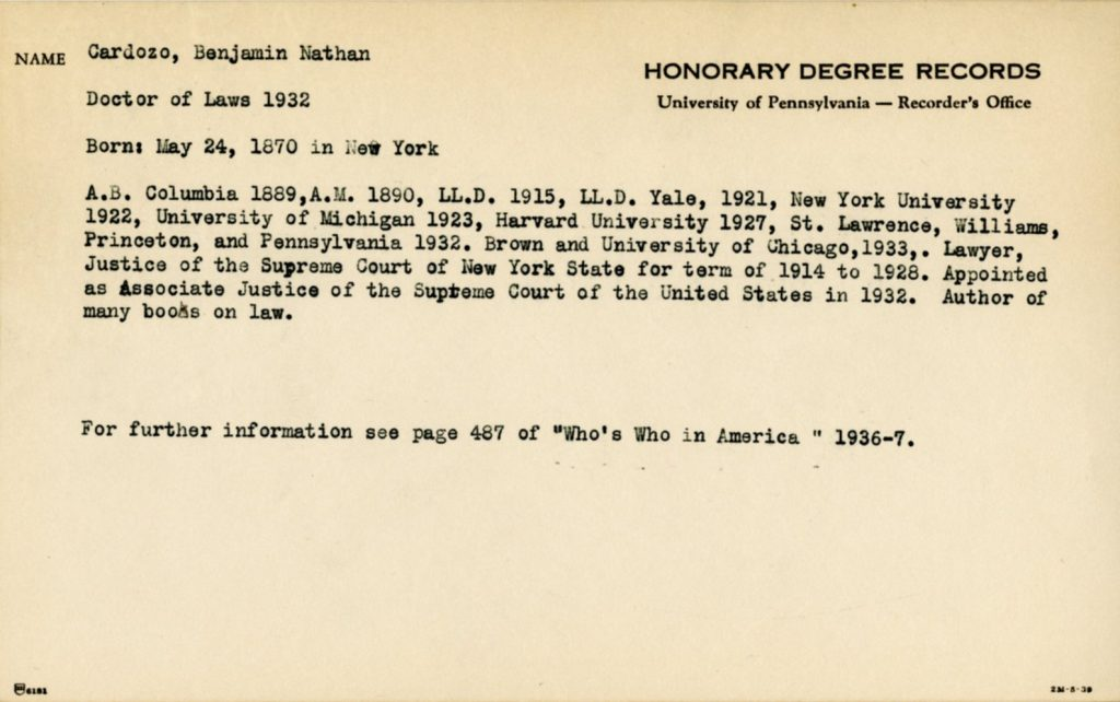 Card for honorary degree recipient, c. 1938